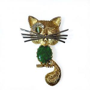 Jade and Diamond Art Deco Cat Pendant