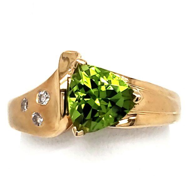 Peridot Trillion and Diamond 14k Ring