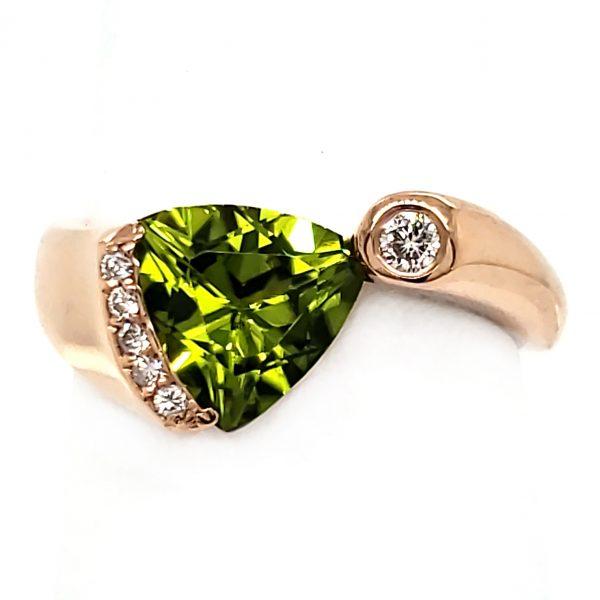 Peridot and Diamond Custom 14k Rose Gold Ring