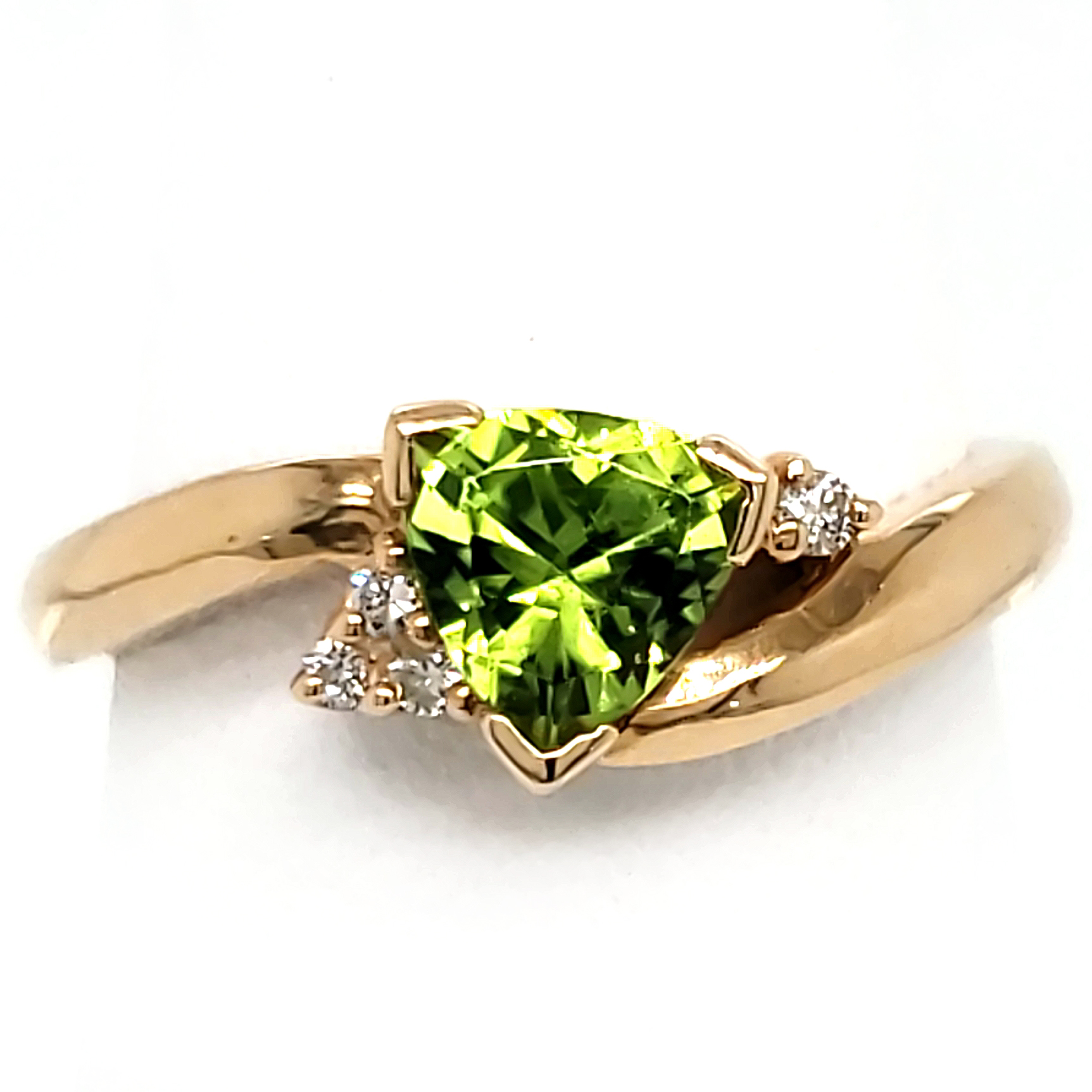 Trillion Peridot and Diamond 14k Ring