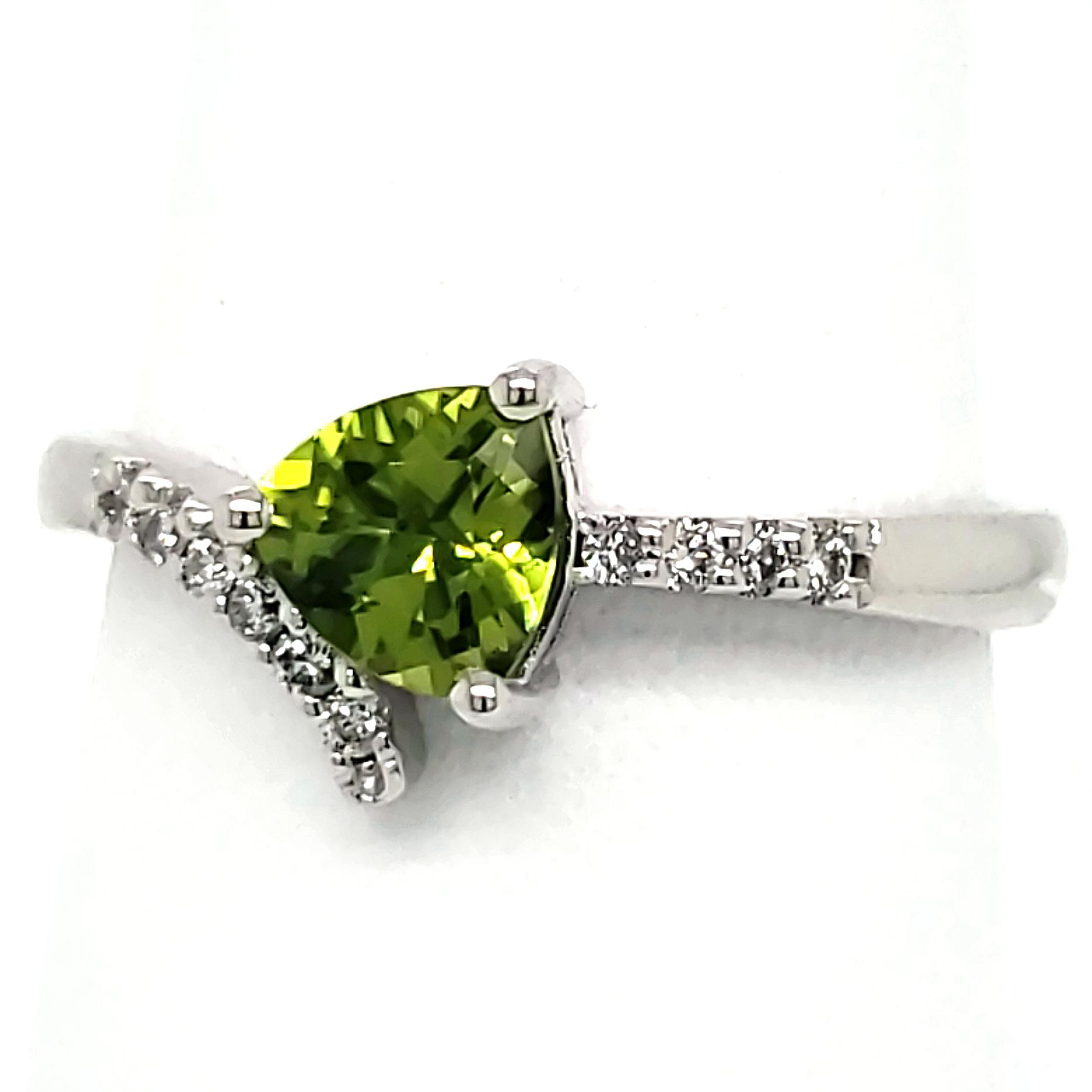Trillion Peridot and Diamond 14k wg Ring