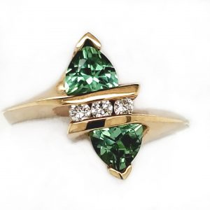1.5 carat Green Tourmaline and Diamond 14k Ring