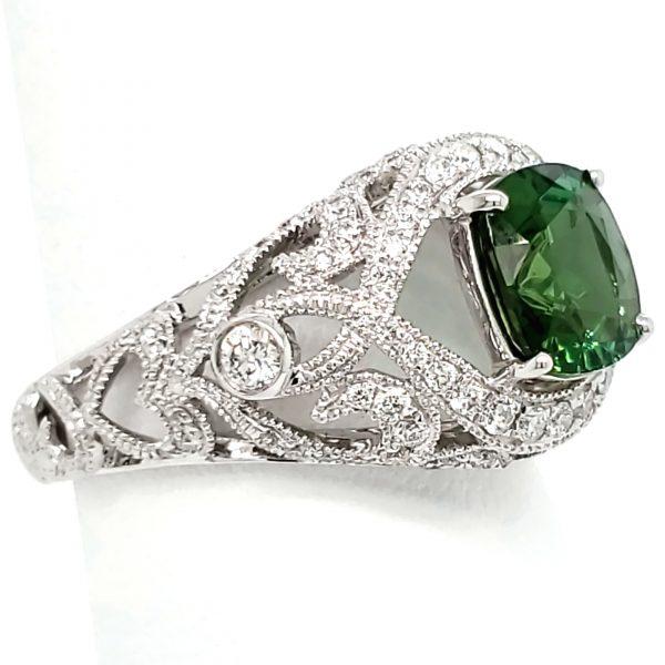 1.5 carat Green Tourmaline and Diamond 18k wg Ring