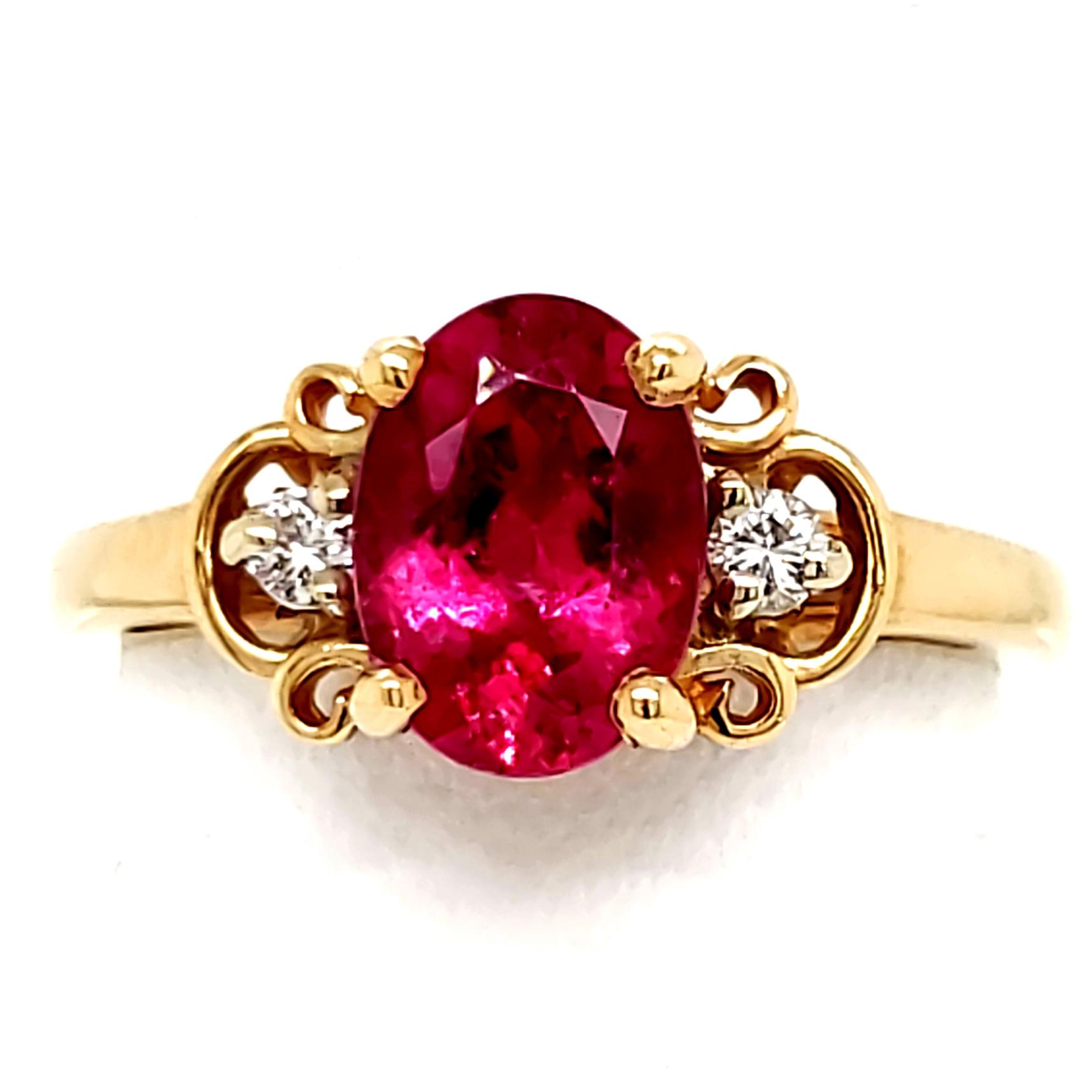 2 carat Rubellite and Diamond 14k Ring