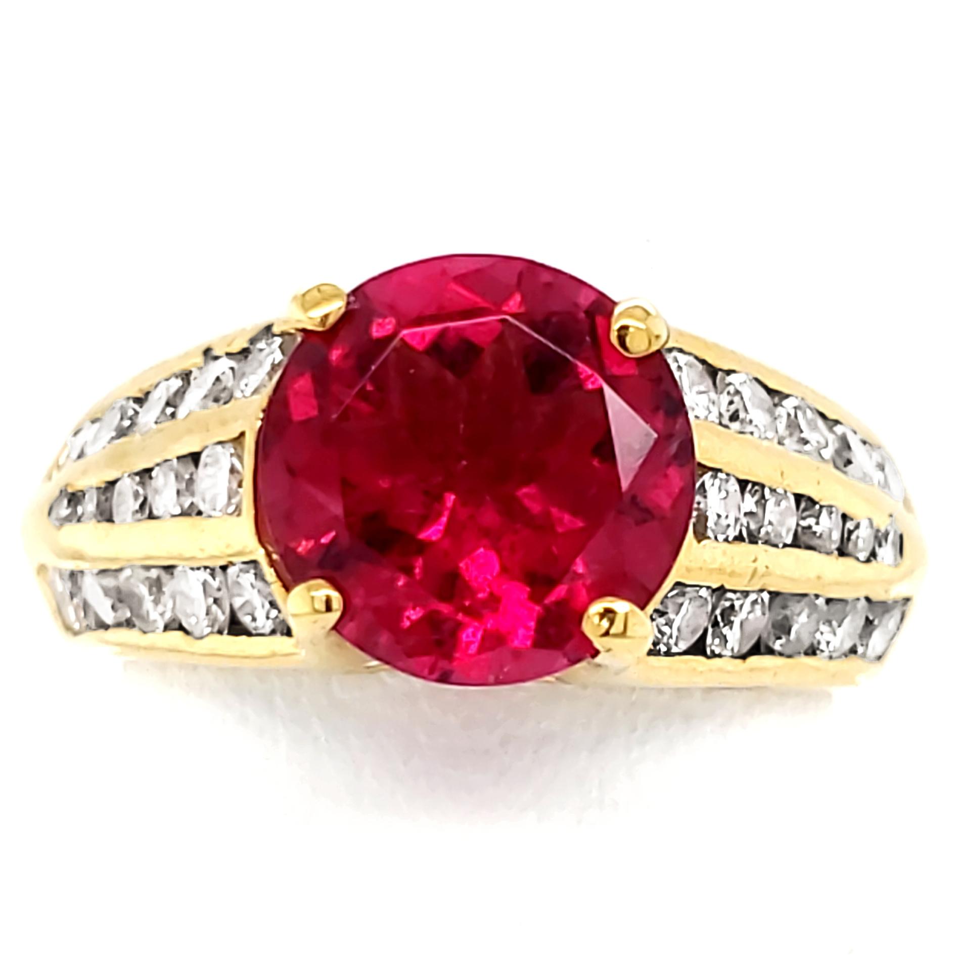2.08 carat Rubellite and Diamond 18k Ring