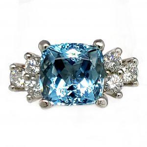 2.09 ct. Aquamarine and Diamond 14k wg Ring