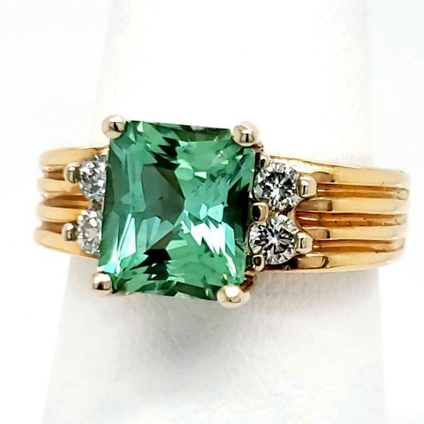 2.54 carat Green Tourmaline and Diamond 18k Ring
