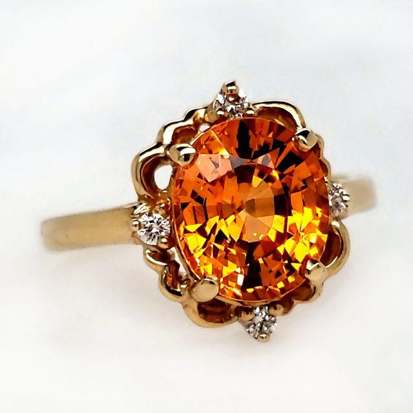 3.48 carat Spessartite Garnet and Diamond Ring