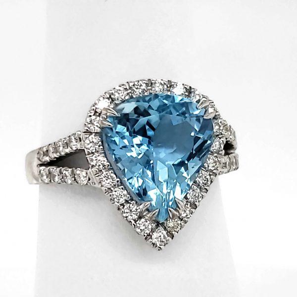 3.5 carat Aquamarine and Diamond 18k wg Ring
