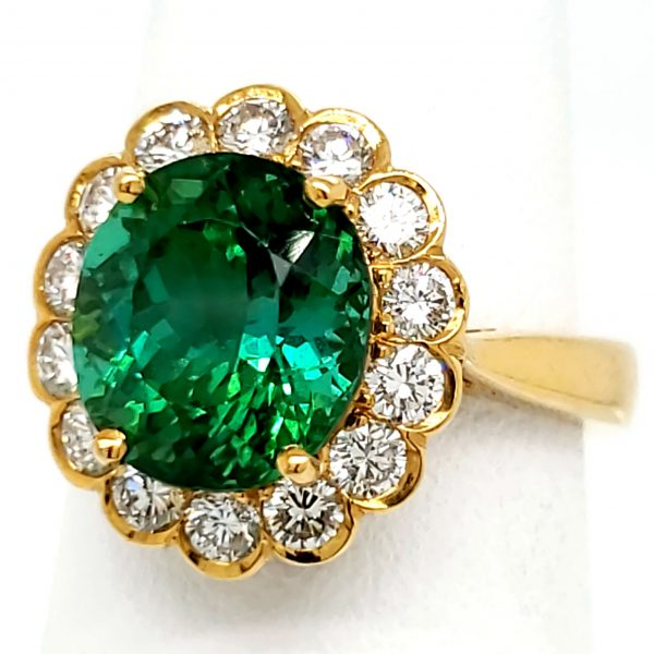 3.75 carat Green Tourmaline and Diamond 18k Ring