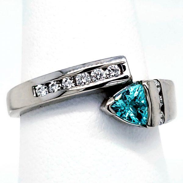 .38 carat Paraiba Tourmaline and Diamond 14k wg Ring