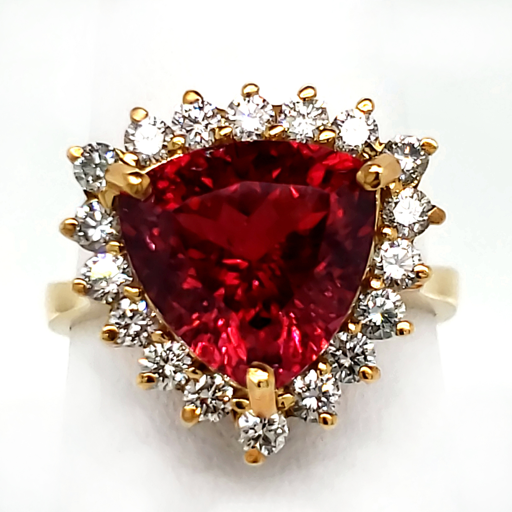 4.4 carat Rubellite Tourmaline and Diamond Ring