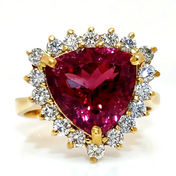 4.4 carat Rubellite and Diamond 18k Ring