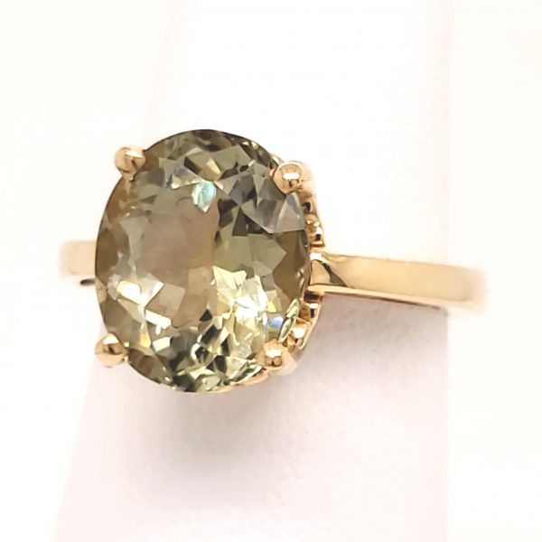 4.5 carat Light Green Tourmaline 14k Ring