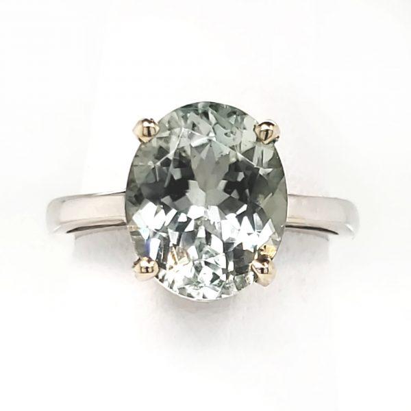 4.51 carat Light Minty Green 14k wg Ring