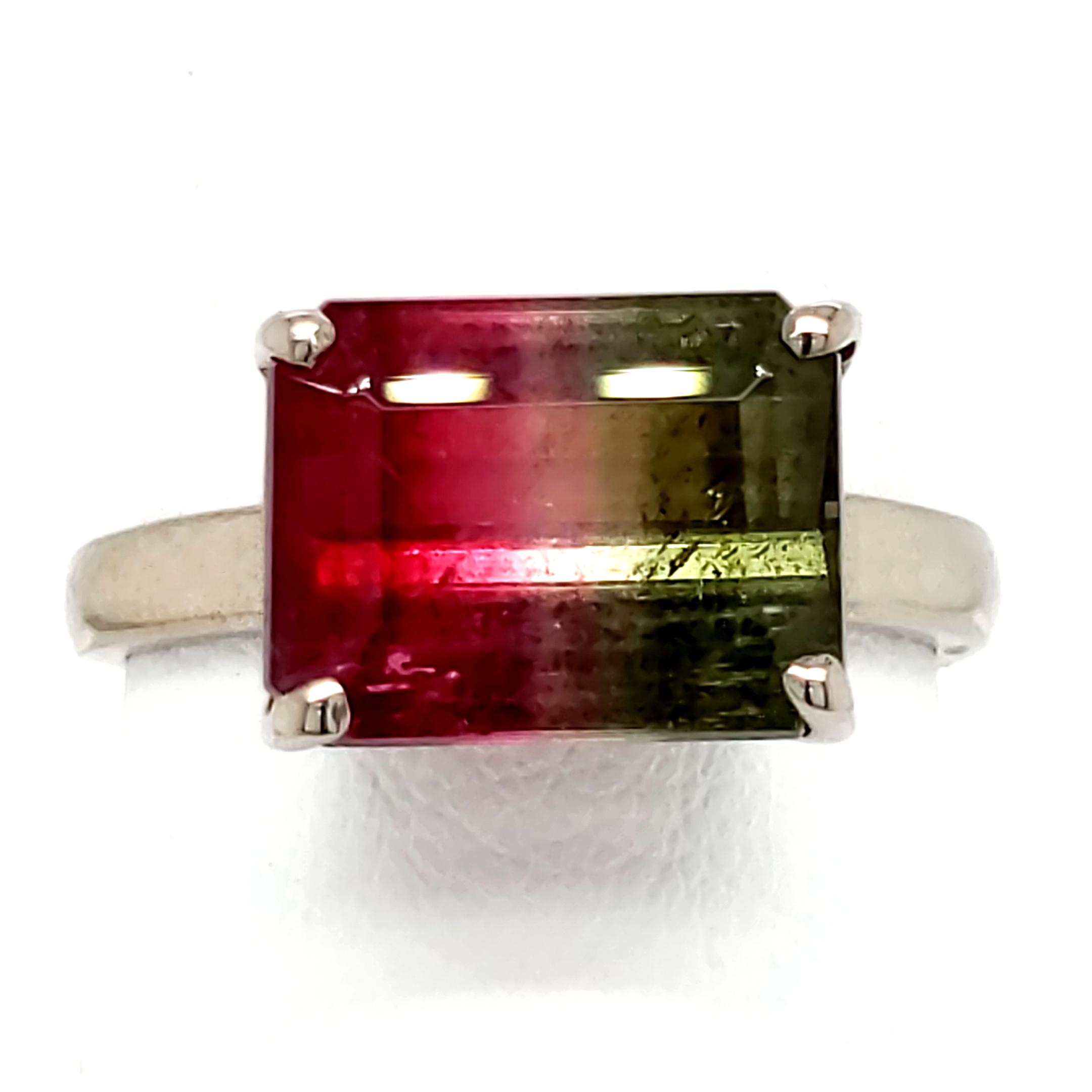 5.11 carat Watermelon Tourmaline Sterling Ring