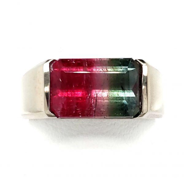 5.7 carat Watermelon Tourmaline Sterling Ring