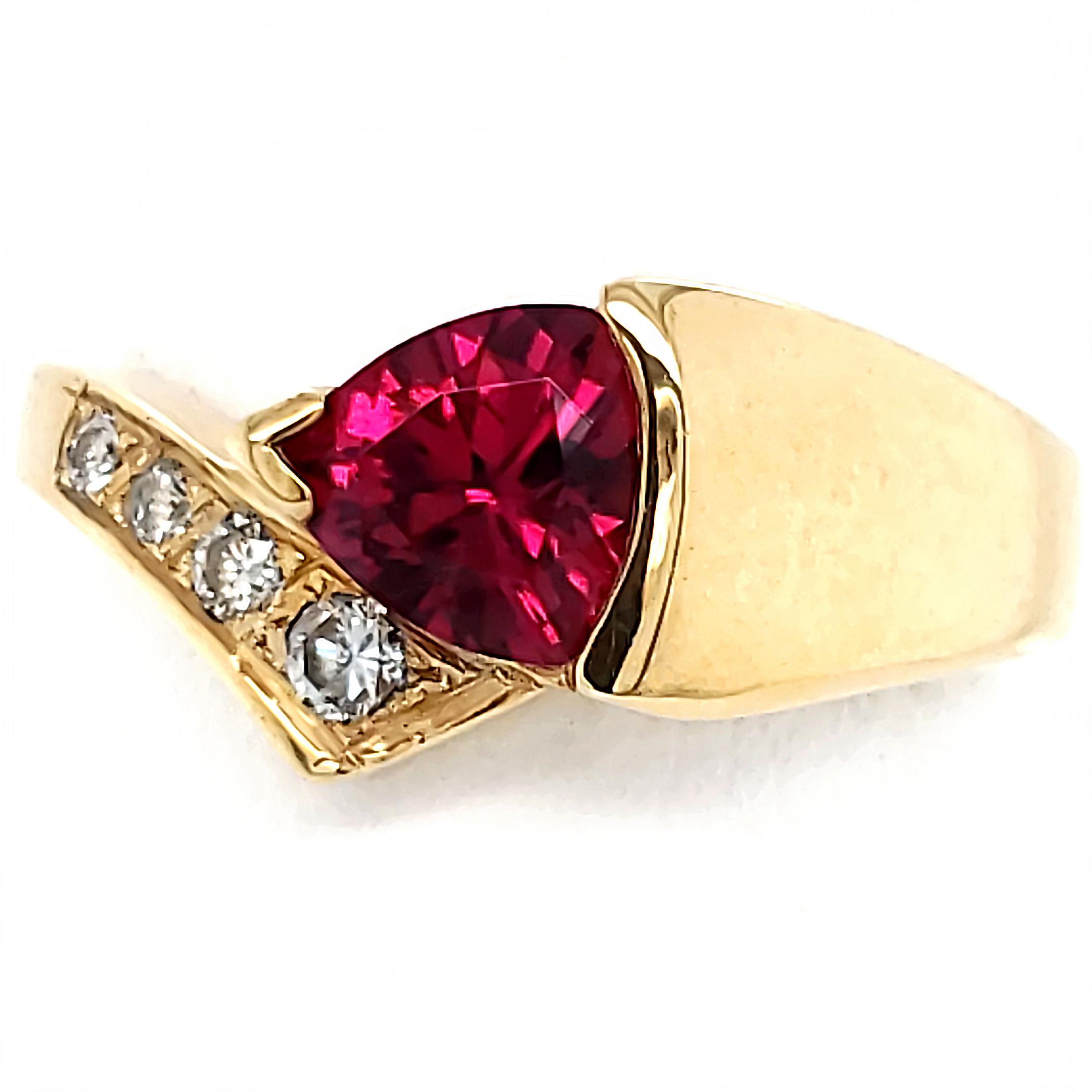 .78 carat Rubellite and Diamond 14k Ring
