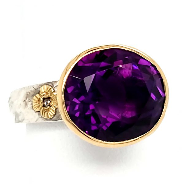Amethyst Sterling and 18k Ring