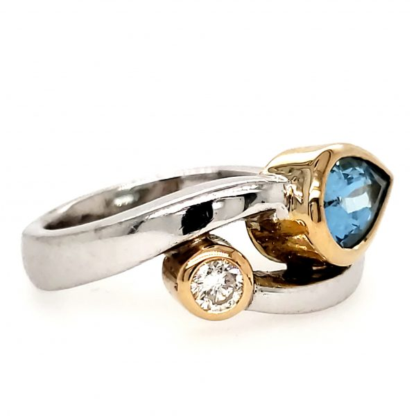 Aquamarine and Diamond Sterling and 18k RIng