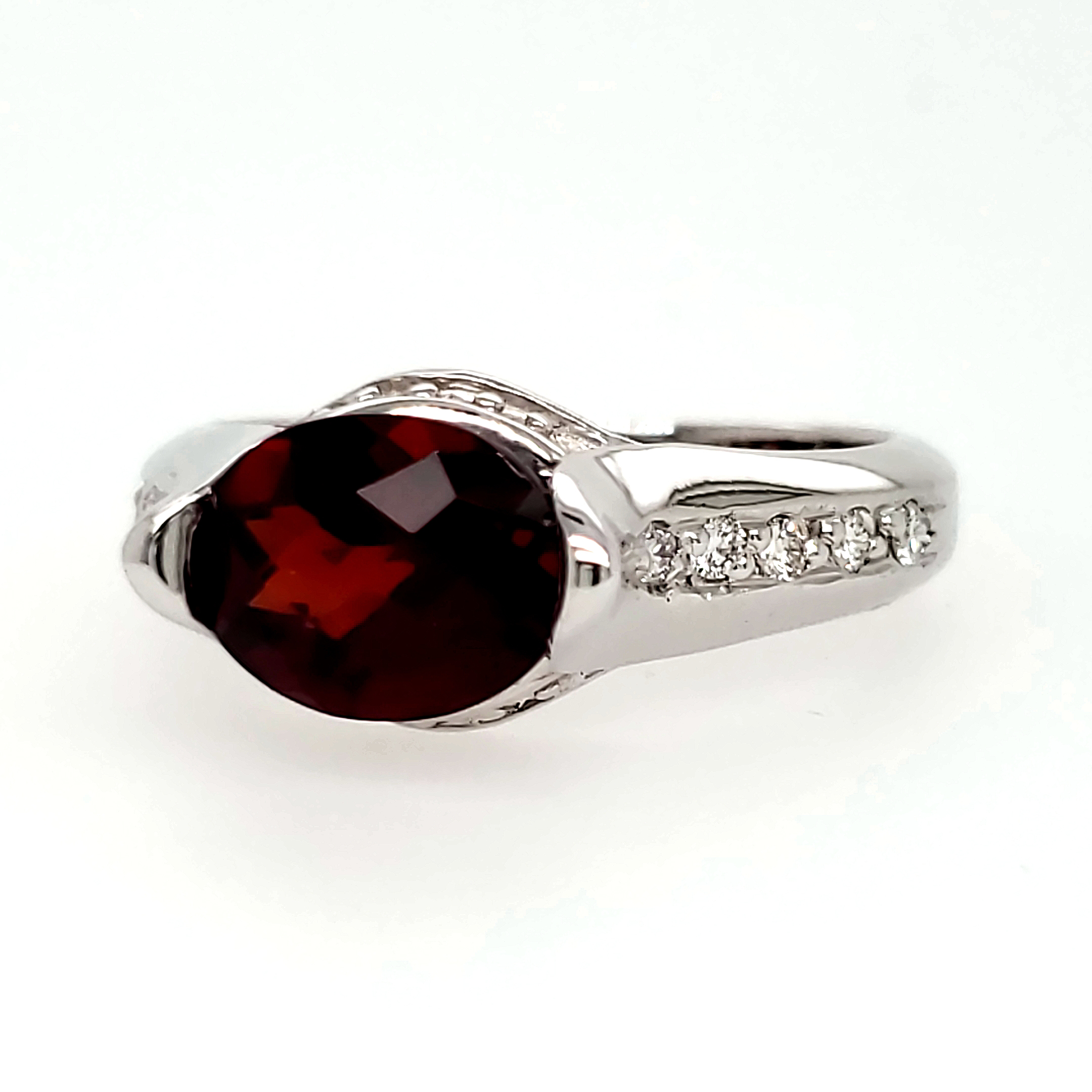 Garnet and Diamond 14k wg Ring