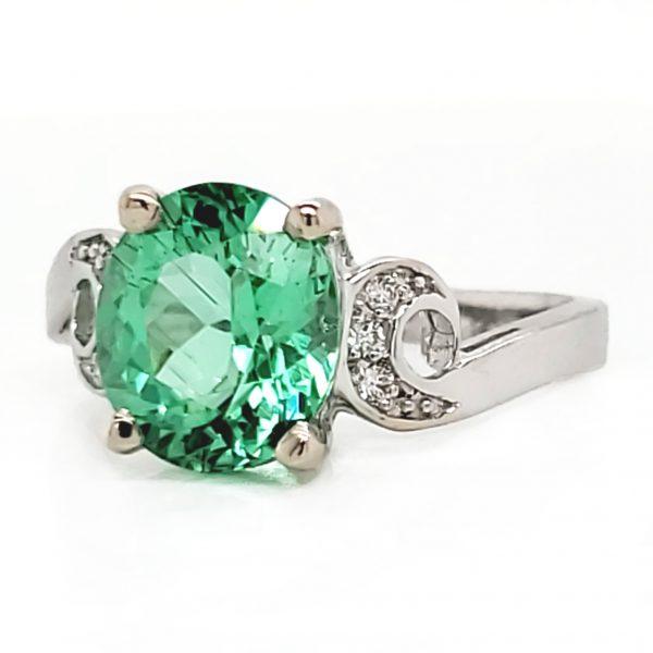 2.69 carat Neon Green Tourmaline and Diamond 18k wg Ring