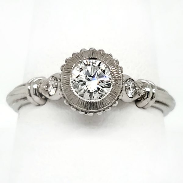 Custom .42 carat SI1 H Diamond and Platinum Ring