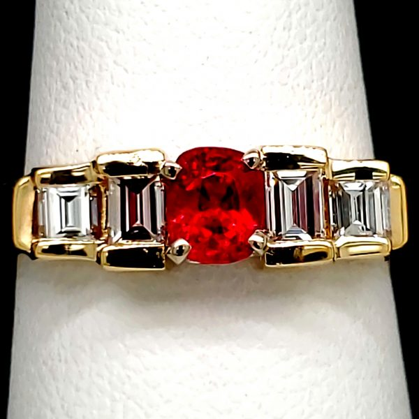 .54 carat Red Spinel and Diamond 14k Ring